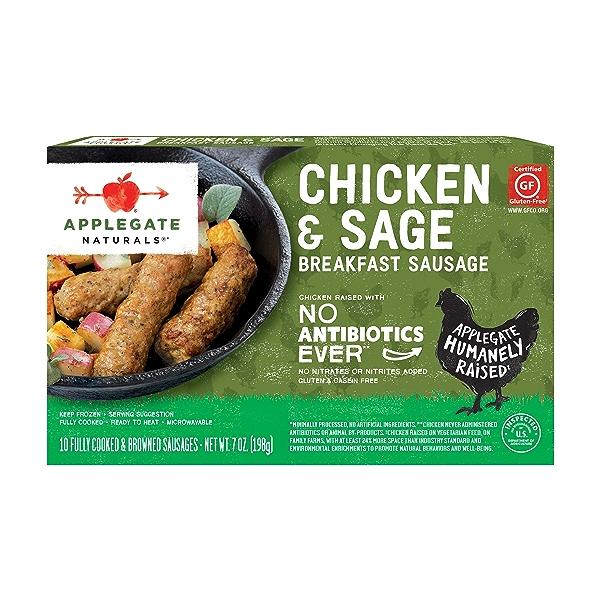 Natural Chicken & Sage Breakfast Sausage, 7oz (Frozen) 1