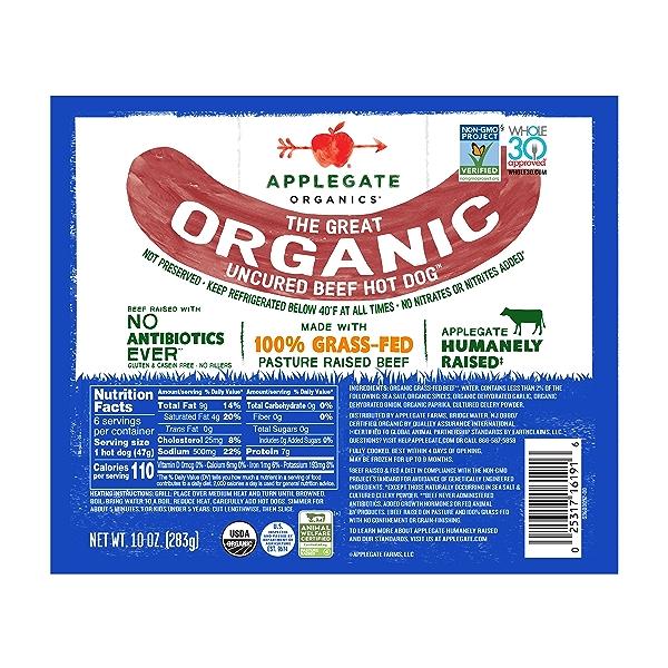 Great Organic Beef Hot Dog Uncured, 10oz 1