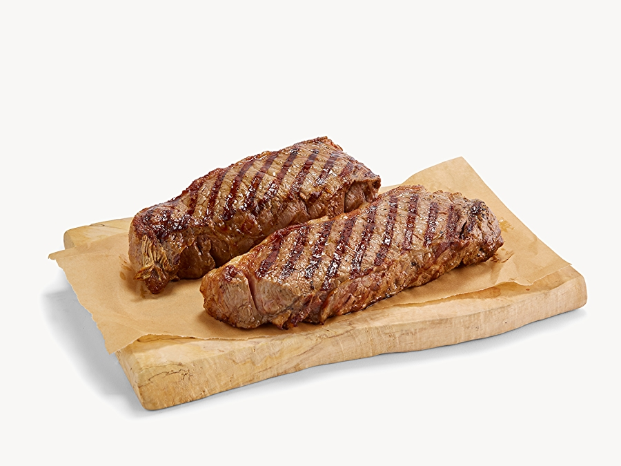 Cooked red meat with grill marks