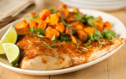 Lime-Roasted Paiche with Sweet Potatoes