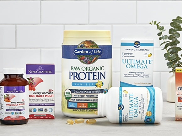 From left to right: New Chapter women's multi probiotics, garden of life raw organic protien, nordic naturals ultimate omega, raw probiotics ultimate care