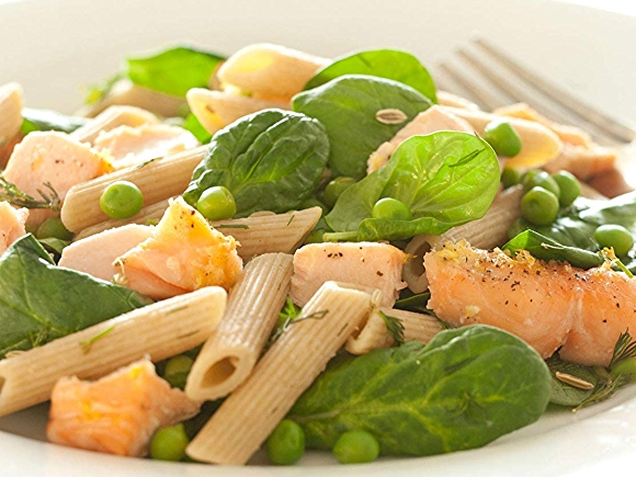 Image of recipe: Lemony Salmon with Whole Wheat Penne Pasta, Peas, and Dill.
