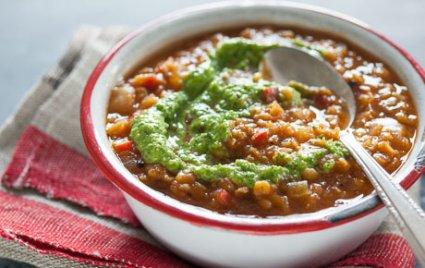Mexican Red Lentil Soup with Cilantro-Almond Pesto