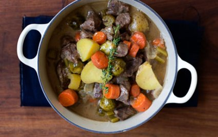 Beer Braised Beef Stew with Brussels Sprouts