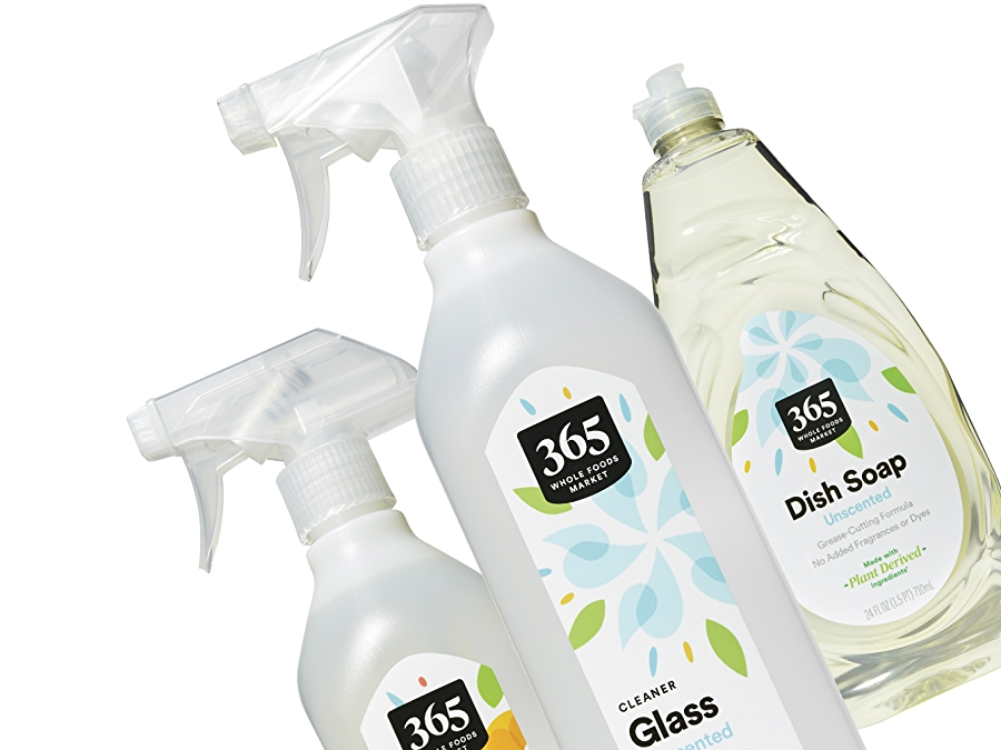 365 cleaning products including glass cleaner and dish soap