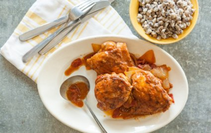 Paprika Chicken with Smashed Black-Eyed Peas