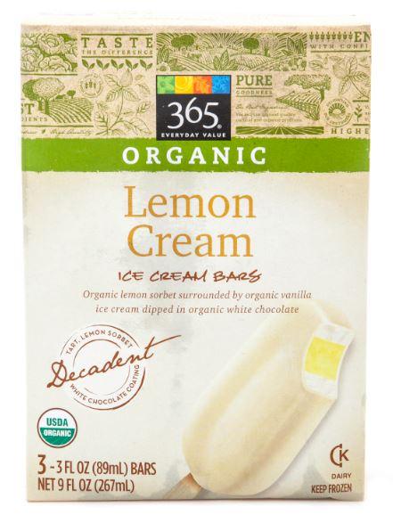 365 Everyday Value® Organic Lemon Ice Cream Bars. (3 pack.)