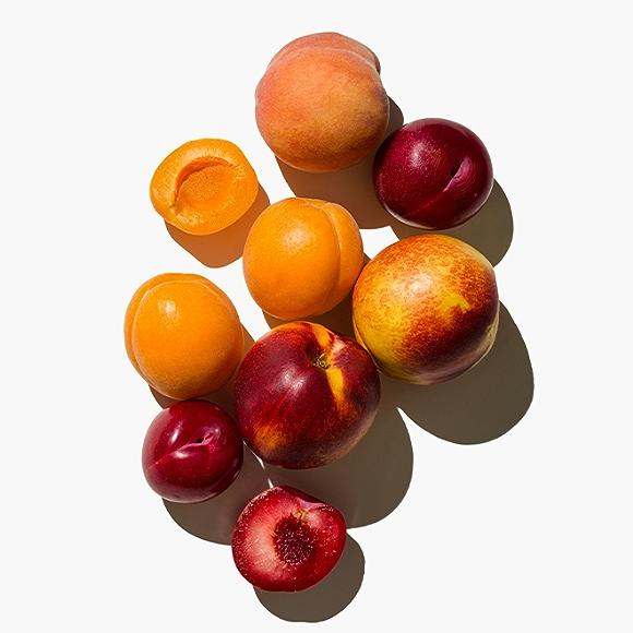Image of stone fruit on white background