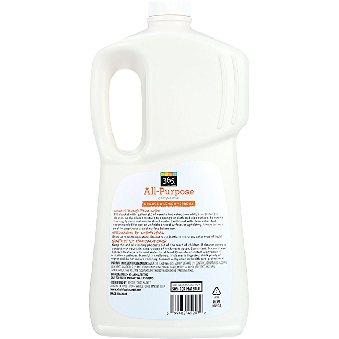365 Everyday value All-Purpose Cleaner, Orange and lemon verbena, back of bottle.