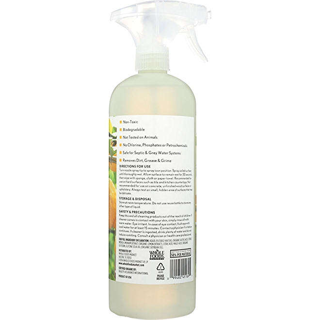 Whole Foods Market All-Purpose Cleaner, lemon zest, back of bottle.