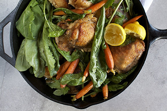 Skillet Roasted Chicken Thighs with Dandelion Greens and Baby Carrots