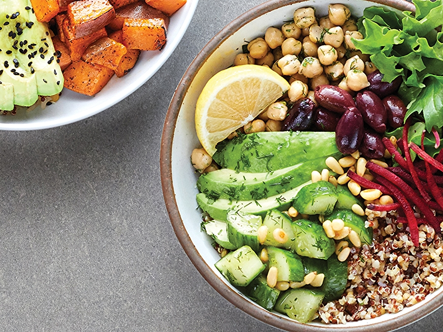 Mediterranean Grain Bowl featuring beans, grains and vegetables.