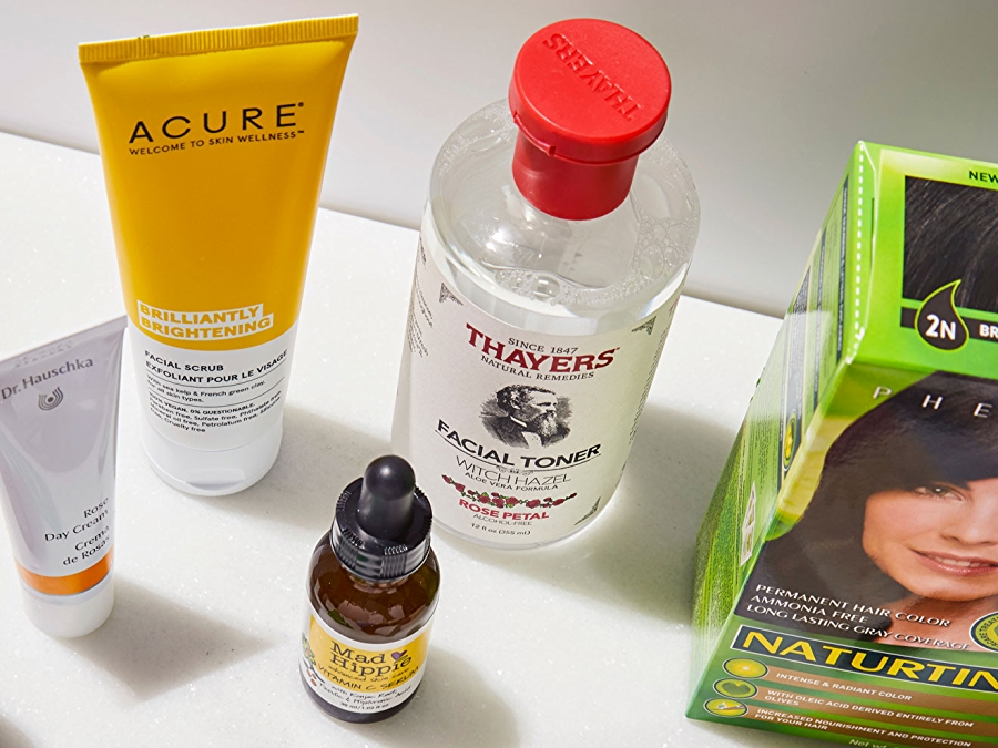 Acure face scrub, Thayers facial toner, Mad Hippie face serum, hair dye