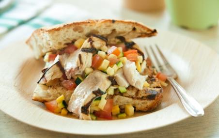 Grilled Swordfish Sandwiches with Summer Squash Salsa