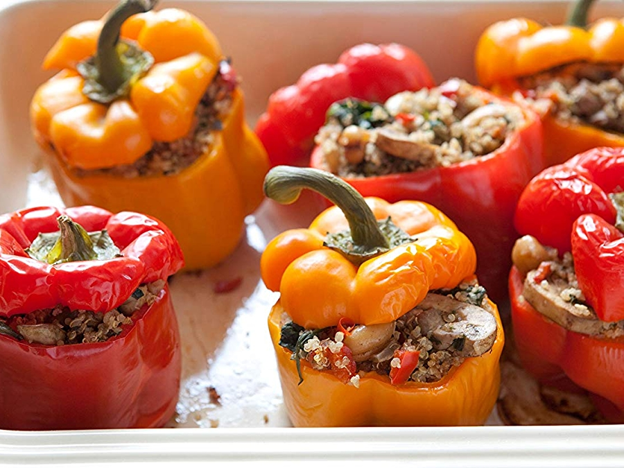 Photo: Roasted Bell Peppers Stuffed with Quinoa