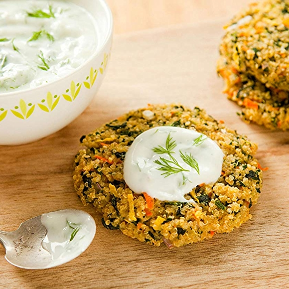 Photo of Quinoa Garden Cakes with Lemony Yogurt