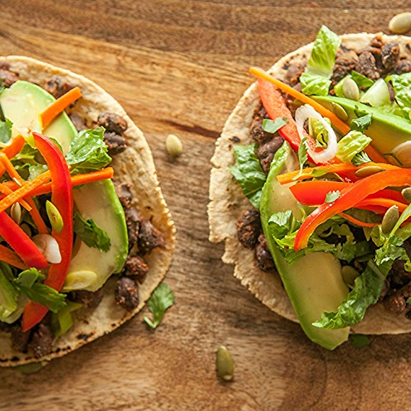 Black Bean Tostadas with Pickled Veggies and avocado.