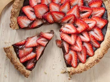 Strawberry Tart with Chocolate Ganache and Miso-Shortbread Crust