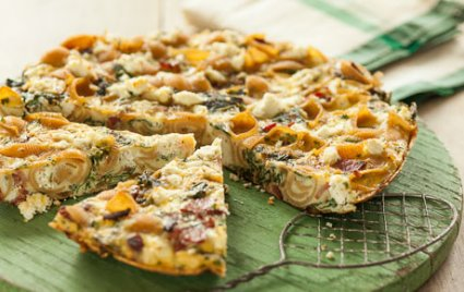 Pasta frittata with chard bacon and goat cheese