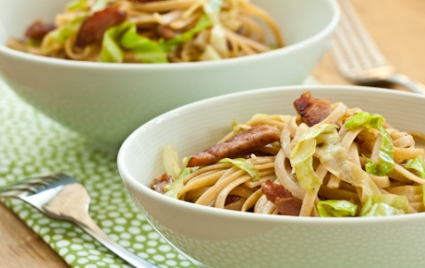 Linguine with Wilted Cabbage and Ham