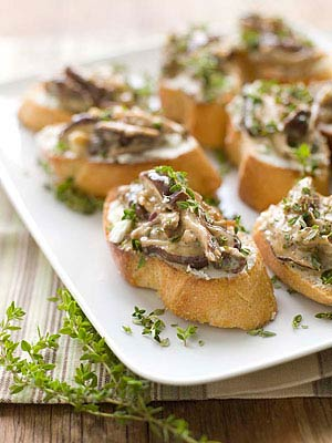 Shiitake Ragu on Chevre Crostini