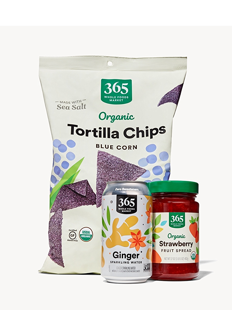 365 Blue Corn Tortilla Chips, Ginger Sparkling water, and Organic Strawberry Fruit Spread