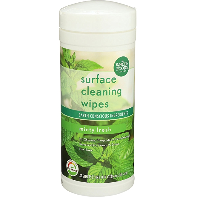 Whole Foods Market Surface Cleaning wipes, minty fresh, front of package