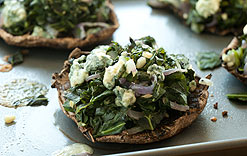Portobellos Stuffed with Greens and Blues