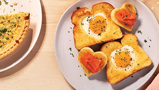 image of toast with egg inside for mother's day