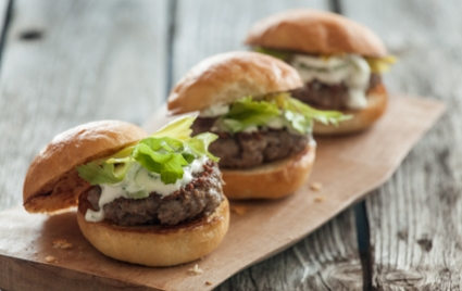 Lamb Sliders with Celery-Yogurt Sauce