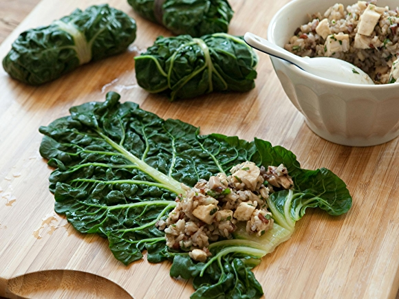 Swiss Chard Rolls Stuffed with Turkey and Wild Rice