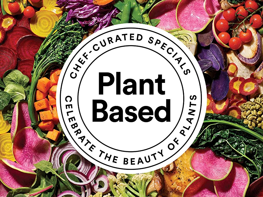 Planted Based Chef-Curated Specials Menu logo over a bed of vegetables