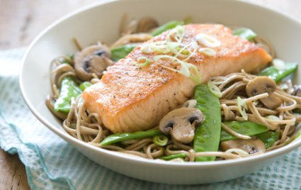 Seared Salmon with Soy-Ginger Noodles and Vegetables