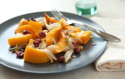 Roasted Butternut Squash with Cranberries and Sage