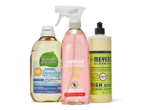 Seventh Generation, method, and Mrs meyer's cleaning products