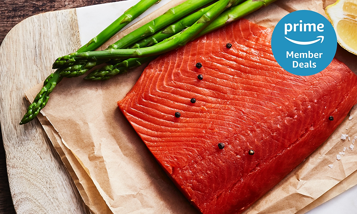 Prime Member Deal Logo in top right corner, sockeye salmon fillet on parchment paper in the bacjground