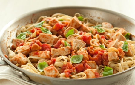 Sicilian-Style Swordfish with Pasta and Capers