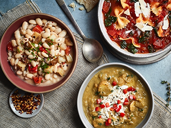 High-Fiber dishes with beans, pasta and grains