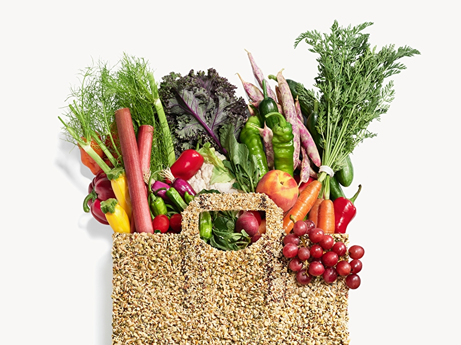 Grocery bag made of grains and chia seed, filled assorted fruit and produce