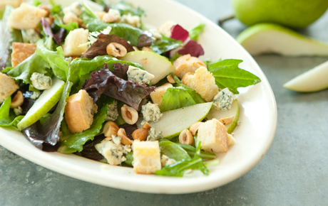 Mixed Green Salad with Pears, Hazelnuts, Blue Cheese and Homemade Croutons