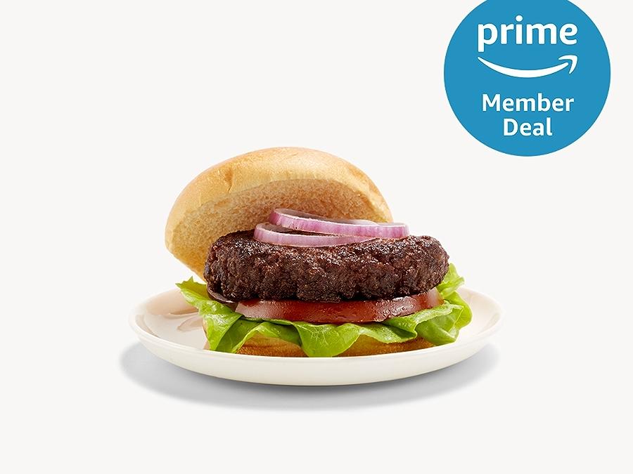 Hamburger and prime member deal logo in top right corner