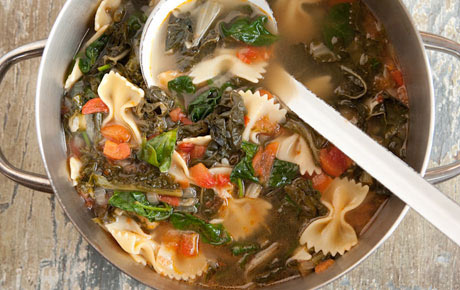 Hearty Greens Soup with Bowtie Pasta and Tomatoes