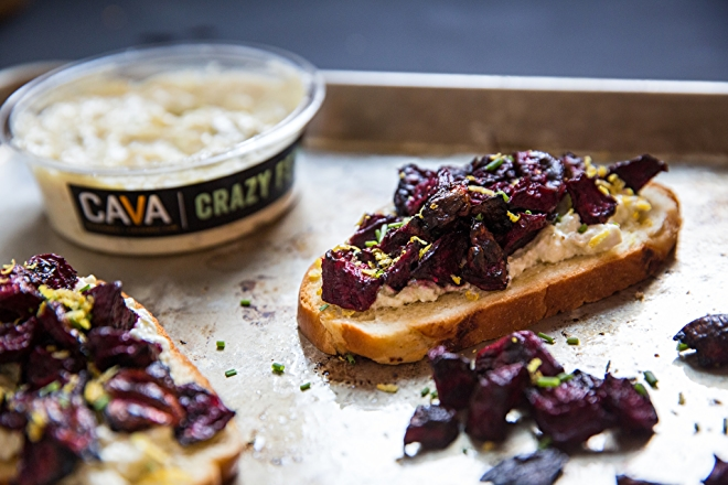Crazy Feta Toast with Roasted Beets and Chives