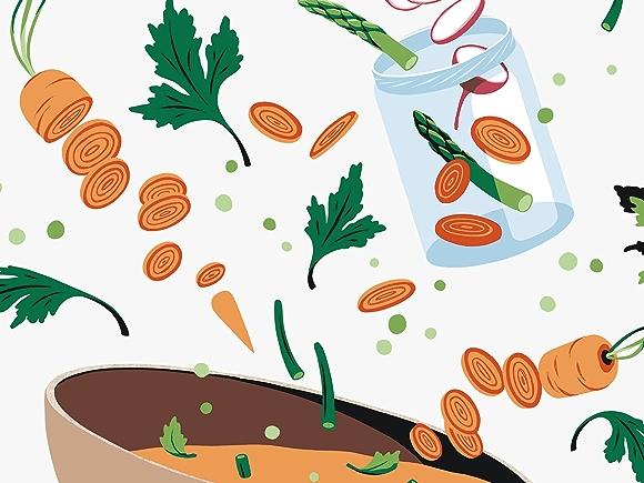 illustration of sliced spring vegetables in bowl