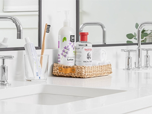 bathroom counter with clean beauty products