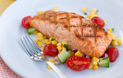Grilled Salmon with Sweet Corn and Avocado Salad