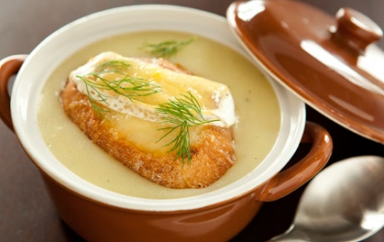 Potato and Leek Soup with Brie Croutons