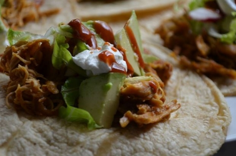 Pulled Chicken Tacos with Saffron Road Simmer Sauce | Image by Yvonee Maffei