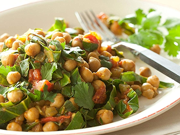 Image of plate with recipe: Indian-style spiced garbanzos and greens.