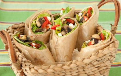 Grilled Veggie and Goat Cheese Wraps